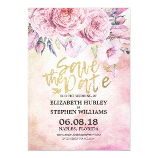 Cartão Economias Wedding a aguarela da data floral &
