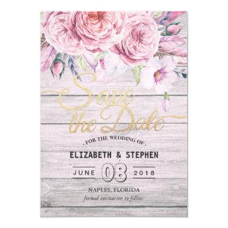 Cartão Economias Wedding a madeira floral de Boho da