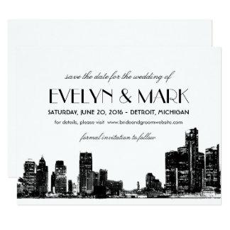 Cartão Economias Wedding a skyline de Detroit do art deco