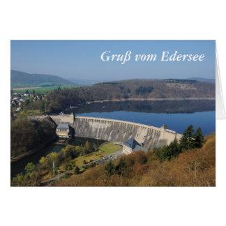 Cartão Edersee Staumauer na primavera