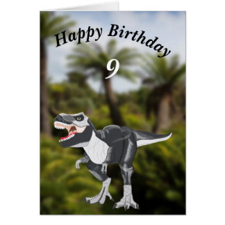 Cartão editável de Rex do tiranossauro com idade