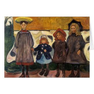 Cartão Edvard Munch - quatro meninas em Asgardstrand