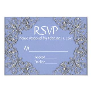 Cartão Efeito elegante do azul e do metal que wedding
