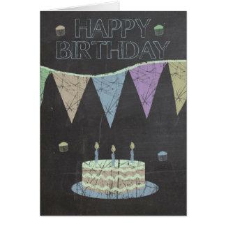Cartão Efeito na moda do conselho de giz, com bolo