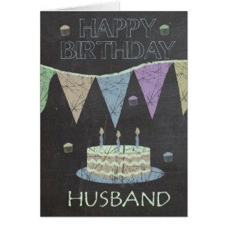 Cartão Efeito na moda do conselho de giz do marido, bolo