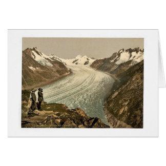Cartão Eggishorn, geleira grande de Aletsch, com