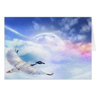 Cartão Egret impossível da migração no espaço