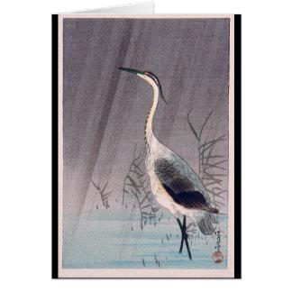 Cartão Egret na chuva por Seitei Watanabe 1851 - 1918