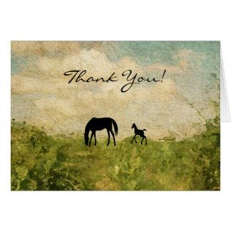 Cartão Égua da silhueta e obrigado bonitos do cavalo do