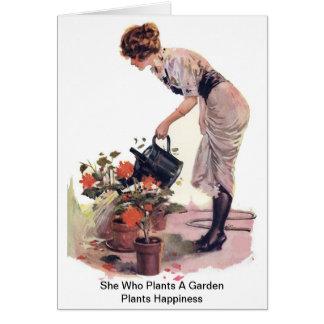 Cartão Ela que planta uma felicidade das plantas de