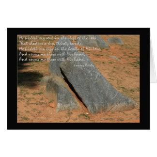 Cartão Ele hideth que minha alma… fendeu da rocha