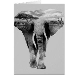 Cartão Elefante - arte da exposição dobro
