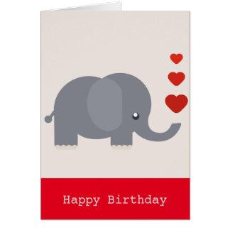 Cartão Elefante bonito com amor do aniversário dos