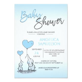 Cartão Elefante & chá de fraldas azuis das mamães do