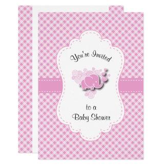 Cartão Elefante cor-de-rosa & branco do bebê da xadrez
