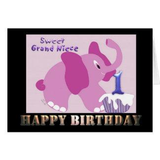 Cartão Elefante cor-de-rosa da primeira sobrinha grande