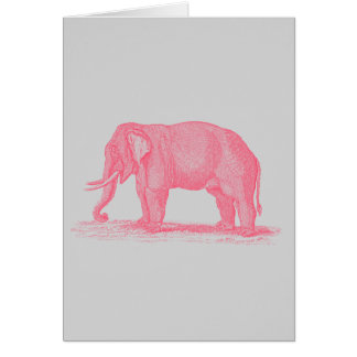 Cartão Elefante cor-de-rosa do vintage em elefantes