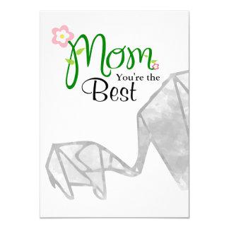 Cartão Elefante de Origami da mãe & da criança com texto