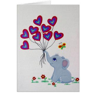 Cartão Elefante do bebê com balões do coração