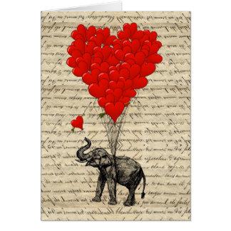 Cartão Elefante e balões dados forma coração