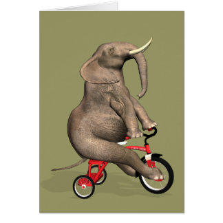 Cartão Elefante engraçado que monta um triciclo