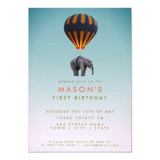 Cartão Elefante & festa de aniversário do balão de ar