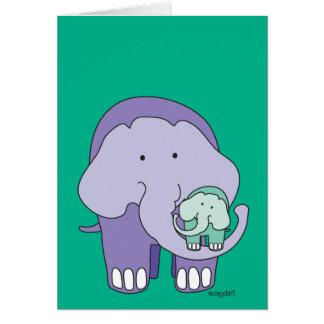 Cartão Elefante no roxo