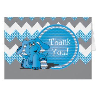 Cartão Elefante parvo azul engraçado de Chevron -