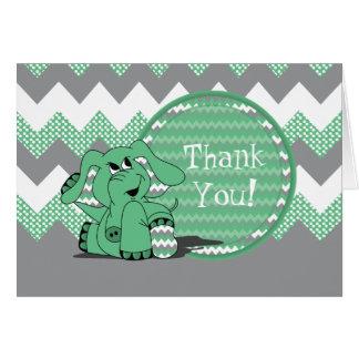 Cartão Elefante parvo verde engraçado de Chevron -