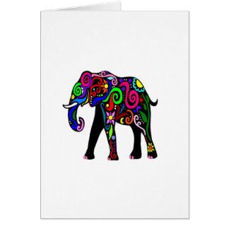 Cartão Elefante psicadélico