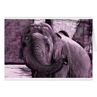 Cartão Elefante que aponta para a frente com o esboço do
