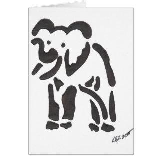 Cartão elefante tribal, sepia