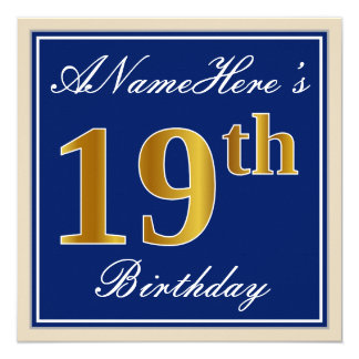 Cartão Elegante, azul, aniversário do ouro do falso 19o +