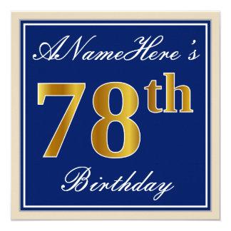 Cartão Elegante, azul, aniversário do ouro do falso 78th