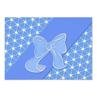 Cartão elegante azul & branco do convite do convite 12.7 x 17.78cm