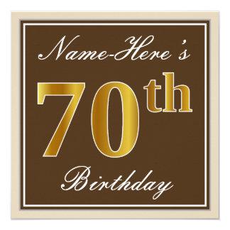 Cartão Elegante, Brown, aniversário do 70 do ouro do