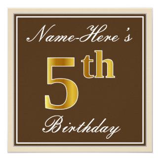 Cartão Elegante, Brown, aniversário do ouro do falso 5o +