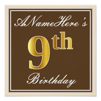 Cartão Elegante, Brown, aniversário do ouro do falso 9o +