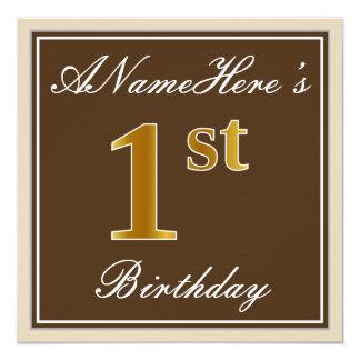 Cartão Elegante, Brown, primeiro aniversario do ouro do