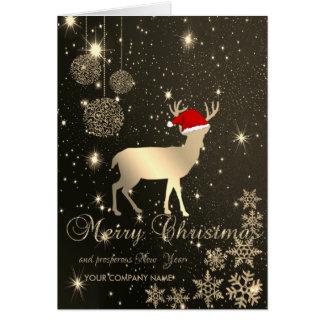 Cartão Elegante, cervos do Natal, flocos de neve,