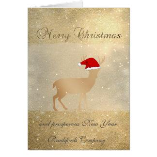 Cartão Elegante, cervos do Natal, Glittery, incorporados