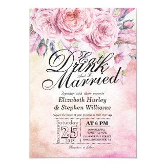 Cartão Elegante COMA a bebida & seja casamento floral