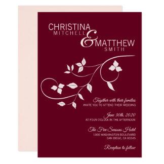 Cartão Elegante cora o casamento da videira do vinho de