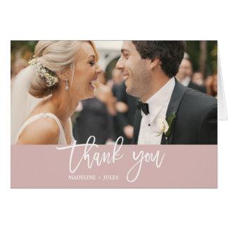 Cartão Elegante cora & o obrigado branco da foto da folha