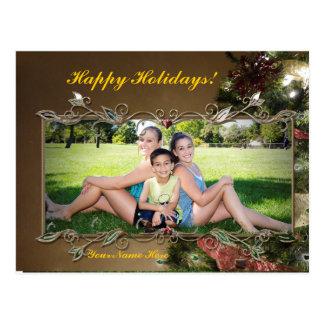 Cartão elegante customizável da foto do feriado cartao postal