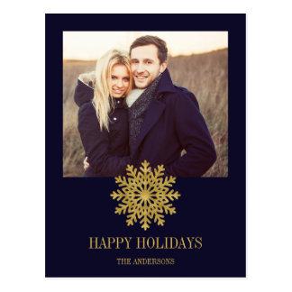 Cartão elegante da foto do feriado do floco de