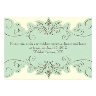 Cartão elegante da recepção de casamento do cartão de visita grande