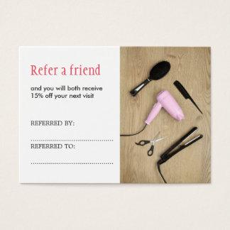 Cartão elegante da referência do cabelo do salão