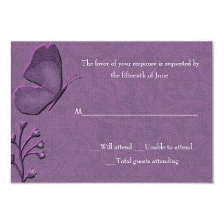 Cartão elegante da resposta da borboleta convite 8.89 x 12.7cm