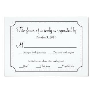 Cartão elegante da resposta do quadro com escolhas convite 8.89 x 12.7cm